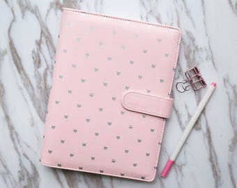 Silver cat paws Planner Binder Cover / A5 planner binder/ Personal size planner cover/pink polka dot planner cover
