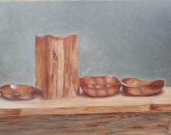 """Original oil painting by Nalan Laluk: Still Life, """"Bowls"""""""