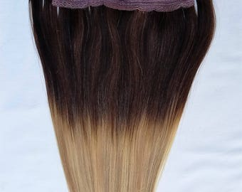 18inches 100% HALO Style Ombre BALAYAGE Human Hair Extensions (ONE Piece No Clip) Ombre  #T2-18/613