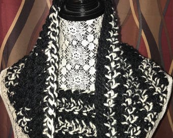Crochet Cowl Neck Warmer - Black/White
