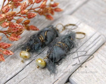 Blue/grey  boho chic  sari silk dangle earrings