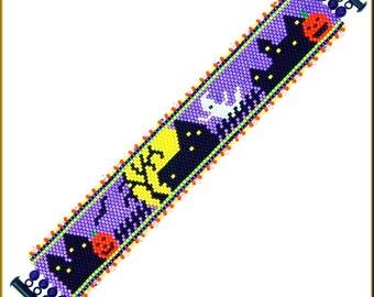 Spooooooky! Fun Halloween Peyote Bracelet Pattern