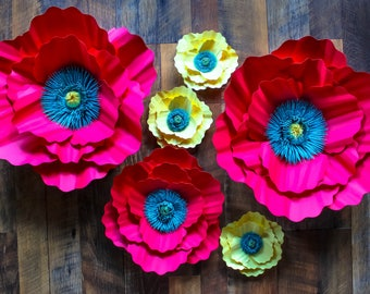 Paper Flower Backdrop, Giant Paper Flowers, Paper Poppies