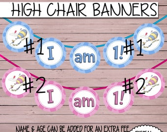 Dr. Seuss I am 1! High Chair Birthday Party Oh the place you'll go I am One Banner Bunting Party sign