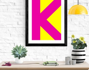 Modern digital alphabet print. Large, minimalist letters in a wide variety of colours. Contemporary digital art download.