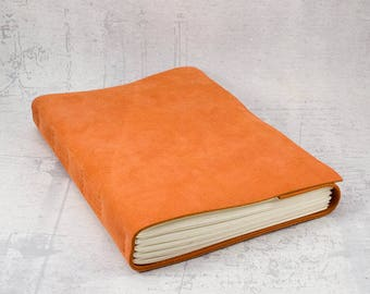 Orange leather journal sketchbook, unique notebook A5 travel journal, writing journal