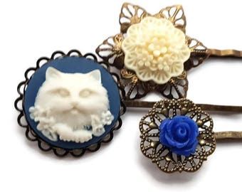 Cat Bobby Pins-Hair Pin Set-Set of 3-Kitten Hair Clips-Cat Hair Slides-Flower Bobby Pins-Blue Bobby Pins-Gifts for Girls-Cat Hair Pins-Kitty