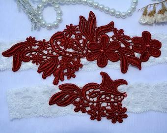 Red Burgundy Garter, Wedding Garter, Wedding Garter Red, Wedding Garter Set, Wedding Garter Ivory, Wedding Garter Belt, Wedding Garter Lace