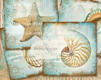 COASTERS Shabby Sea Shells - Digital Collage Coasters - Digital Maritime Tags - Nautical Images - Scrapbooking Backgrounds - Sea Beach Paper