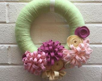Easter Spring Wreath, flower wreath, felt flower wreath, Spring wreath, Easter decoration, new home gift, home decor, nursery, birthday