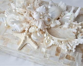 Beach Decor Seashell Boxes, Capiz Shell Storage Boxes, Luxury Coastal Home Decor Seashell Decorative Boxes - 2 SIZES