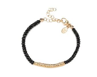Telluride hammered bar gemstone bracelet