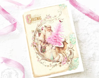 Santa Claus vintage style Christmas card with deer and pink Christmas tree, blank inside