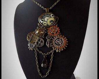 steampunk necklace secret love gears - handmade - unique - gift idea for woman - buy steampunk necklace - steampunk