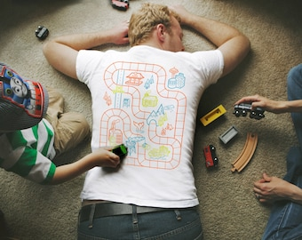 XL, Dad's Train Shirt, Grandparent Gifts, Play Mat Shirt, Gift for Him, Train Track Shirt, Boys Train Birthday, Gifts for Dad from Baby