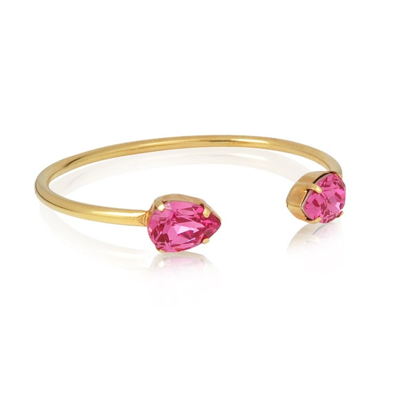 Crystal Drop Cuff Bracelet in Rose Pink