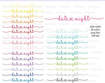 Date Night Script Icon Digital Clipart in Rainbow Colors - Instant download PNG files