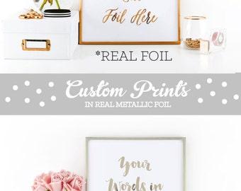 Rose Gold Foil Print Copper Foil Print Custom Quote Prints Word Print (EB3122) Custom PRINTED