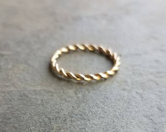 2mm Yellow or Rose Gold Twist Band - Solid 14k Gold Eternity Ring - Rope Wedding Band, Anniversary Ring, Promise Ring, or Stacking Ring