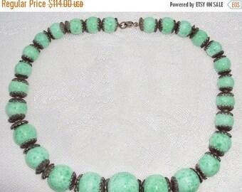 SALE Cleareance SALE Clearnce Sale Art Nouveau Art Deco Czech Green Peking Art Glass Vintage Antique Necklace