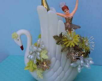 Vintage Style Birthday Decoration - Ballerina with Large Swan...So Pretty in Yellow and Gold