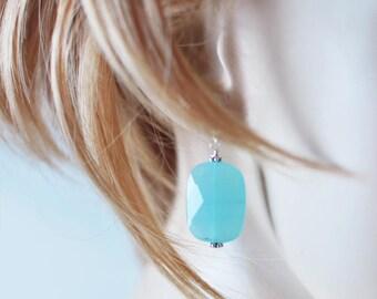 Blue Earrings, Gift for Her, Gift for Women, Blue Dangle Earrings, Drop Earrings, Simple Earrings, Statement Earrings, Long Dangle Earrings