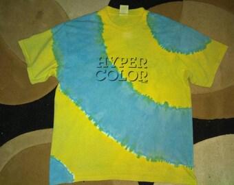 Vintage 80s rare retro HYPER COLOR by GENERRA sportswear co usa heat sensitive color changing  t shirt tie dye bleached acid wash