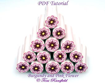 Polymer Clay Tutorial; Burgundy and Pink Flower Tutorial,  PDF Tutorial , Polymer Clay, Millefiori Cane, Learn How to Make a Flower