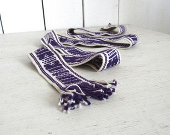 70s Woven Belt White Purple Fringe Vintage Bag Strap Hat Band Hippie Tribal Headband Craft Finding