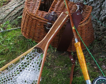 Walnut/Ash 2-Ply medium size trout fishing landing net with clear rubber netting;FREE SHIPPING Limited Time