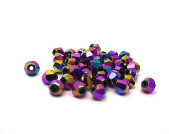 Crystal bead faceted purple iridescent 0.4 cm, set of 20 Pcs