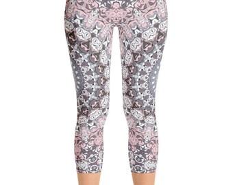 Capris Mandala Yoga Leggings, Yoga Tights, Yoga Pants, Womens Leggings, Printed Leggings, Stretch Pants