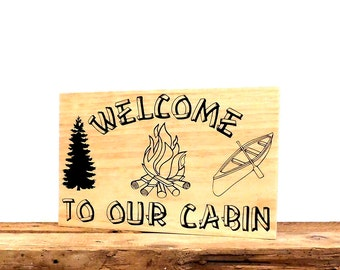 Rustic Wooden Cabin Sign