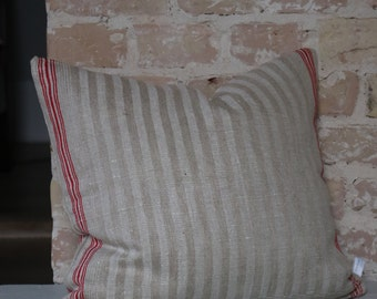 Pillows from antique kitchen linen: strips in red/nature 45 * 45cm