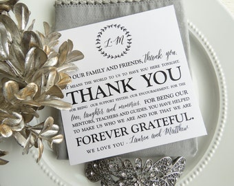 Wedding Reception Thank You Card    Reception Thank You Note     Table Card  - Style 20 - BRANCHES COLLECTION