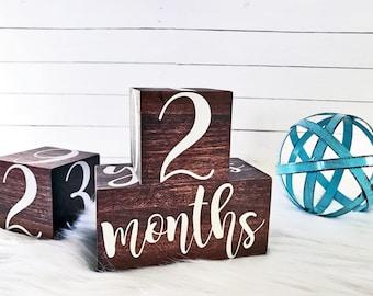 Milestone Blocks - Baby Month Blocks - Wooden Age Blocks - Milestone Blocks Boy - Pregnancy Tracker - Newborn Photo Prop - Baby Shower Gift