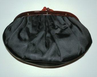Vintage Black Clutch with Bakelite