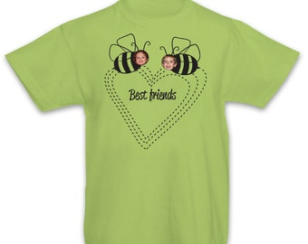 Bumblebees- Best Friends, Personalized kids t-shirt with a full-color photo, Custom t-shirt, Heart t-shirt