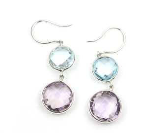 Beautiful Earrings, Natural Amythyst and Topaz, Antique Drop Earrings, Earrings for Her, Beautiful Gift, Unique Handmade Jewelry