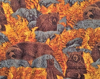 WildLife Animals Fabric Grizzly Bears Wild Animals Vintage Cotton Shamash & Sons by Yard OOP Man Cave Cotton
