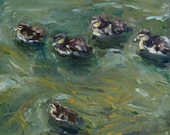 "small oil painting, ""Ducklings"", oil on panel, 6x6 inch, 15x15 cm"