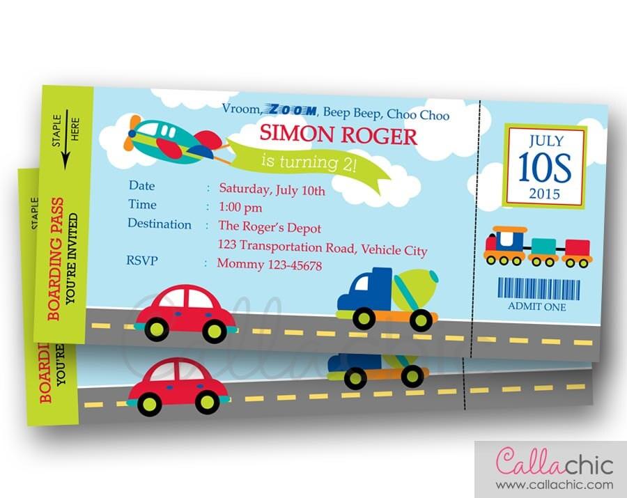Transportation Ticket Invitation PRINTABLE Boarding Pass