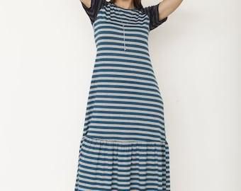 Stripe Ruffle Bottom Dress