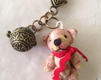 Teddy Bear miniature dangle charm pink with antique bronze locket wish box