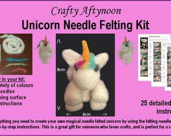 Unicorn Needle Felting Kit - White / Rainbow