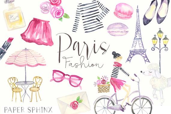 Watercolor Paris Clipart Fashion Clip Art Planner