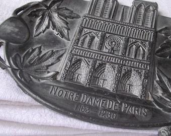 French Vintage Pewter ashtray, Notre dame de Paris Souvenir, cathedral, Paris.