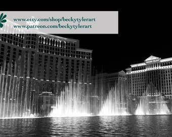 Bellagio Fountain Black and White Fine Art Photo Print