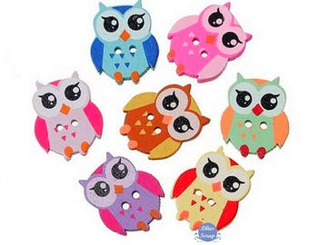 10 owls owls painted 2.5 cm - 2 holes wood buttons