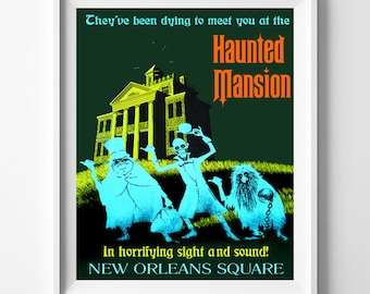 Haunted Mansion, Disneyland Vintage, Disney Poster, Disneyland Print, Disney, Fantasyland, Valentines Day, Gift idea, Dorm Decor, Valentines